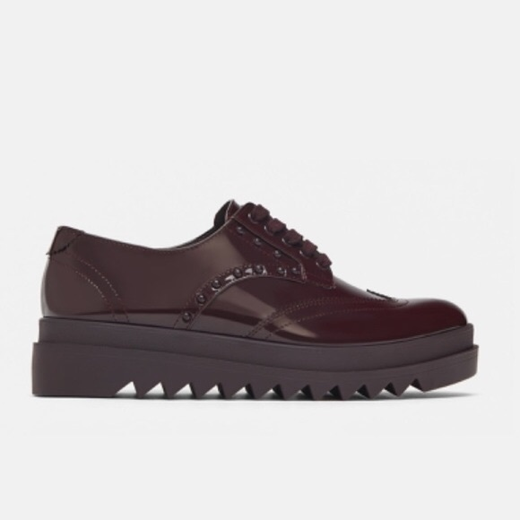 NWOT Zara Studded Platform Patent Leather Oxfords